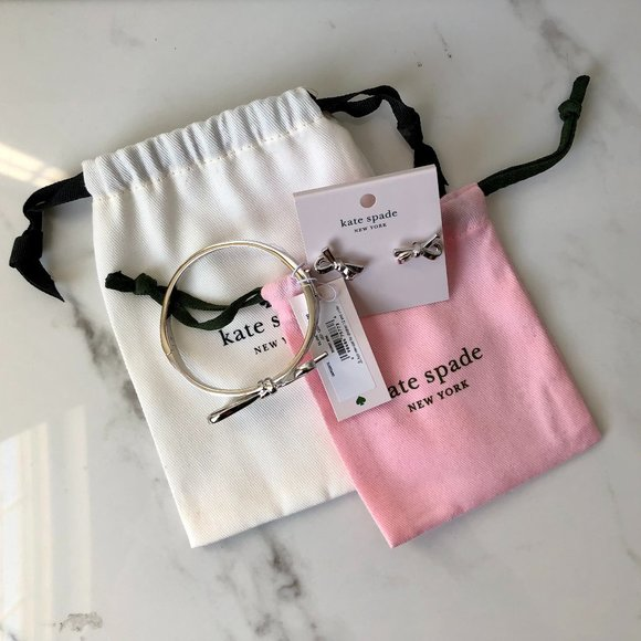 Kate Spade Skinny mini bow bracelet and earrings